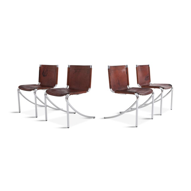 Giotto Stoppino Patinated Red Leather and Chrome Vintage Dining Chairs Model Jot for Acerbis For Sale - Image 11 of 11