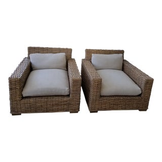 Restoration Hardware Woven Split Bamboo Club Chairs - a Pair