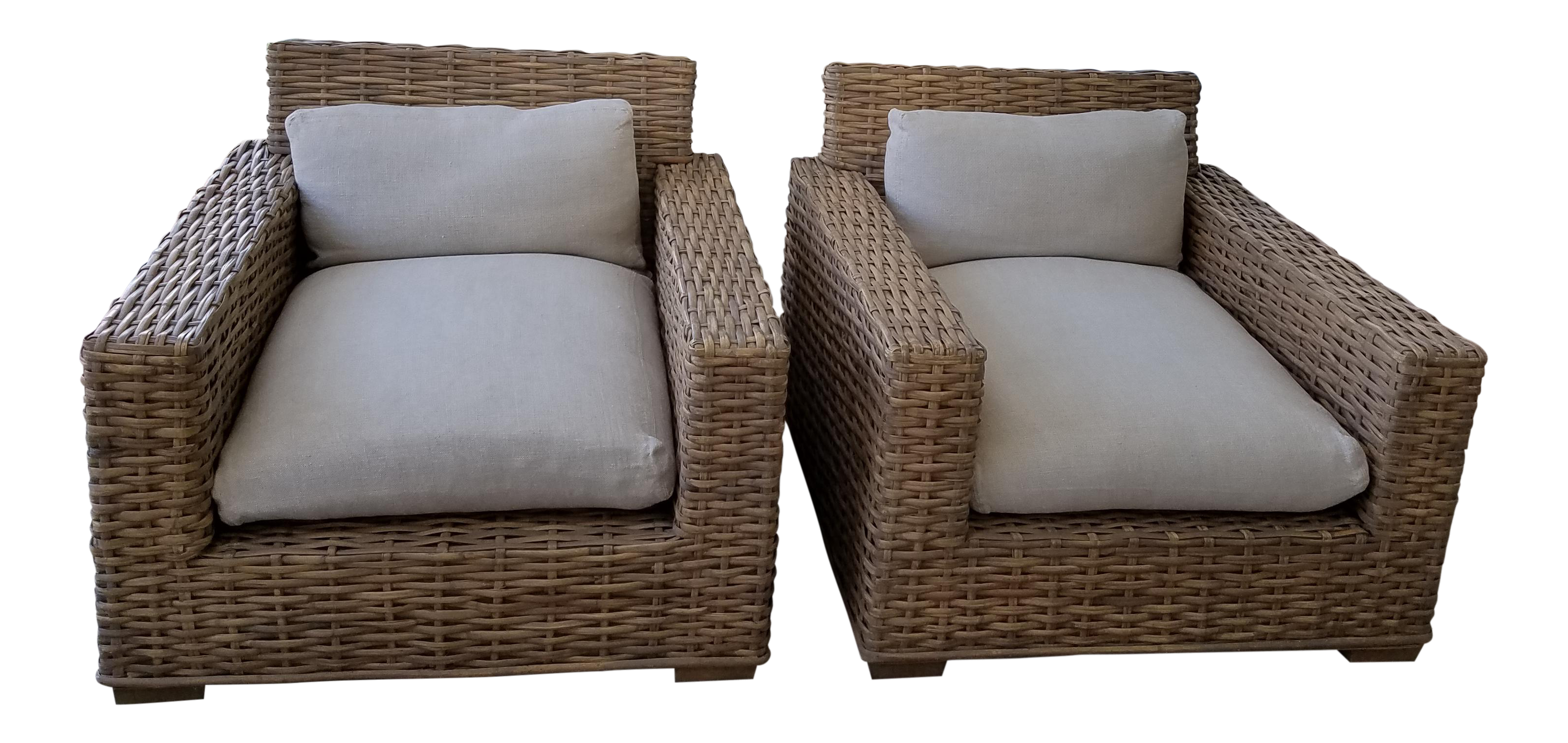 Restoration Hardware Woven Split Bamboo Club Chairs   A Pair
