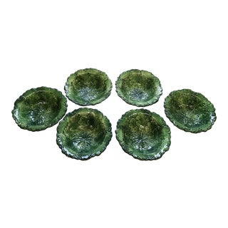 Italian Hand Painted Green Leaf Vietri Bowls - Set of 6
