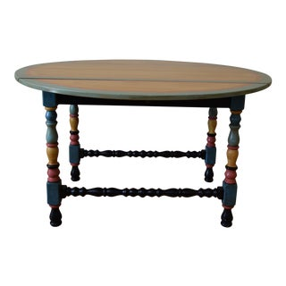 Vintage French Country Hand Painted Oak Extension Dining Table