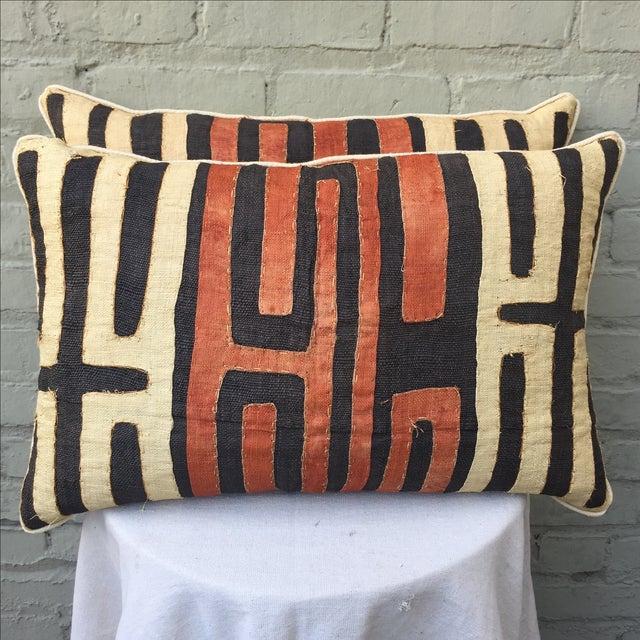 African Kuba Cloth Pillows - Pair - Image 2 of 5