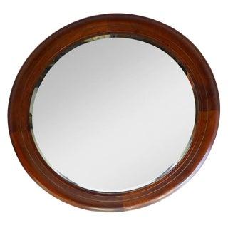 Mid-Century Round Mahogany Mirror For Sale