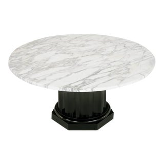 White Carrara Marble Coffee Table With Ebonized Fluted Wood Base For Sale