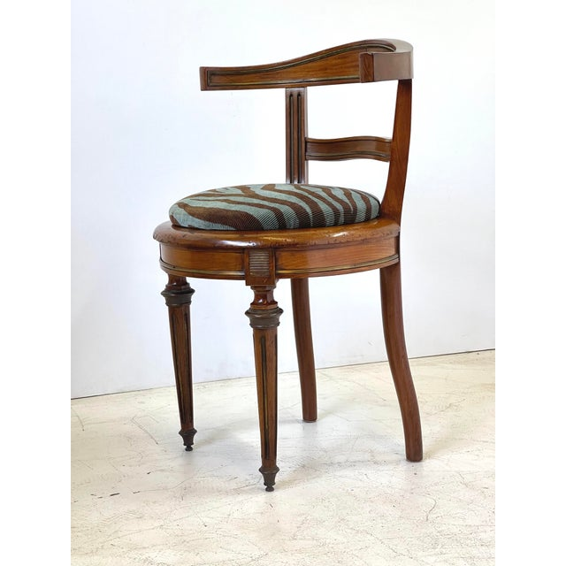 Neoclassical Vanity Chair of Walnut and Brass For Sale - Image 4 of 13