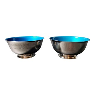 20th Century Reed & Barton Usa Silver Plated Enameled Bowls - a Pair For Sale
