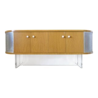 Maple Media Cabinet With Lucite Base & Glass Handles For Sale