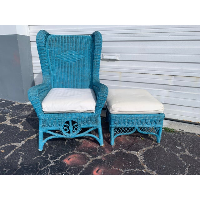 Vintage Polo Ralph Lauren Wicker Chair and Ottoman For Sale - Image 13 of 13