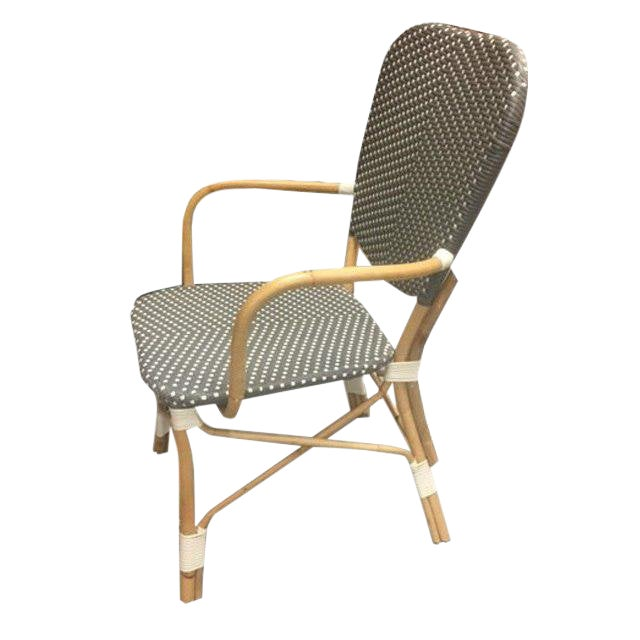 Boho Chic Piazza Rattan Bistro-Style Woven Armchair For Sale