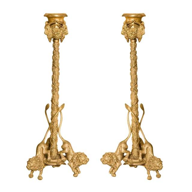 Pair Renaissance-Style Gilt Bronze Candlesticks - Image 1 of 10