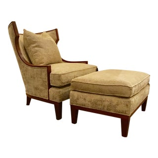Henredon Barbara Barry Winslow Wing Chair & Ottoman Set For Sale