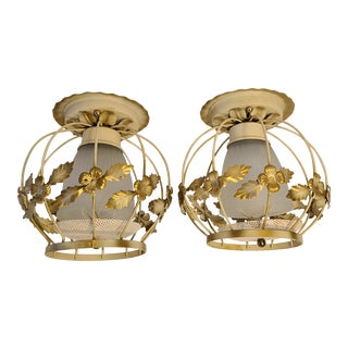 Mid-Century Earl Lites Metal Ceiling Lights - a Pair For Sale