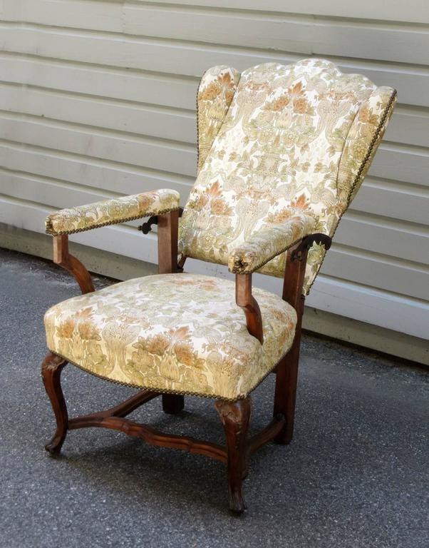 18th Century French Provincial Wingback Upholstered Reclining Chair   Image  4 Of 8