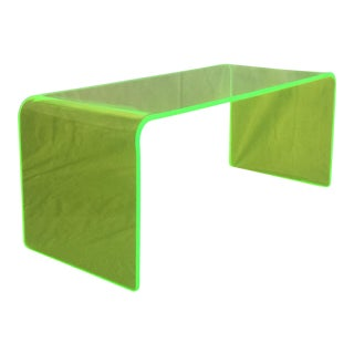 Memphis Neon Green Lucite Waterfall Coffee Table For Sale
