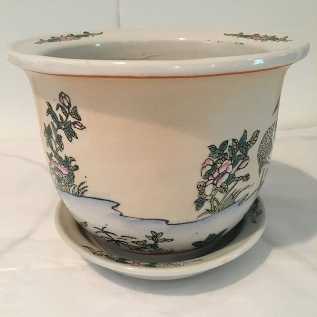 1970s 1970s Chinese Cream Colored Planter and Tray - 2 Pieces For Sale - Image 5 of 11