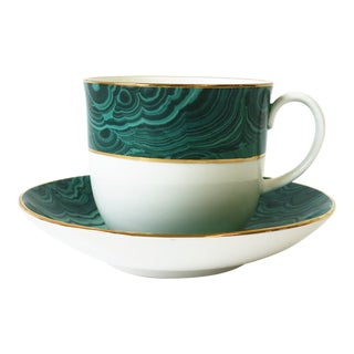 English Green Malachite Porcelain Coffee or Tea Cup and Saucer For Sale