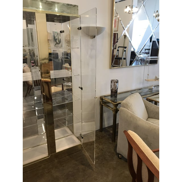 Mid Century Modern Tall Lucite, Mirror & Gold Tone Metal Cabinet w/ Lighting - Image 9 of 10