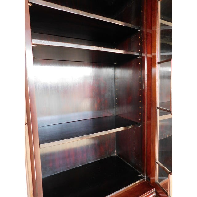 """Metal Antique Georgian Style Mahogany 2pc Breakfront Bookcase Cabinet 95""""w For Sale - Image 7 of 13"""