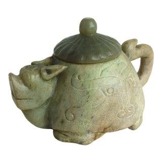 Vintage Carved Soapstone Teapot For Sale