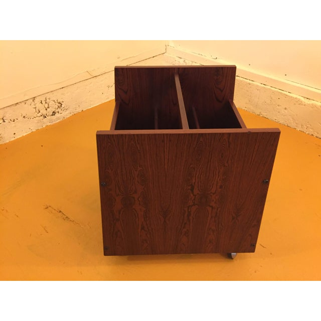 Rosewood Single Rolling MCM Record Album Holder by Rolf Hesland for Bruksbo, Norway For Sale - Image 9 of 13