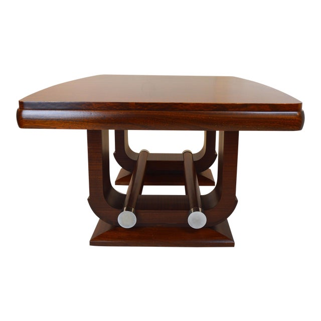 Fabulous Gaston Poisson Art Deco Dining Room Table in Mahogany, 1930. For Sale