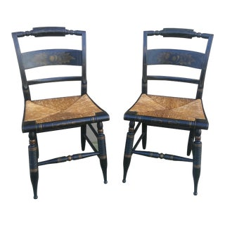 Hitchcock Black Stenciled Side Chairs - A Pair