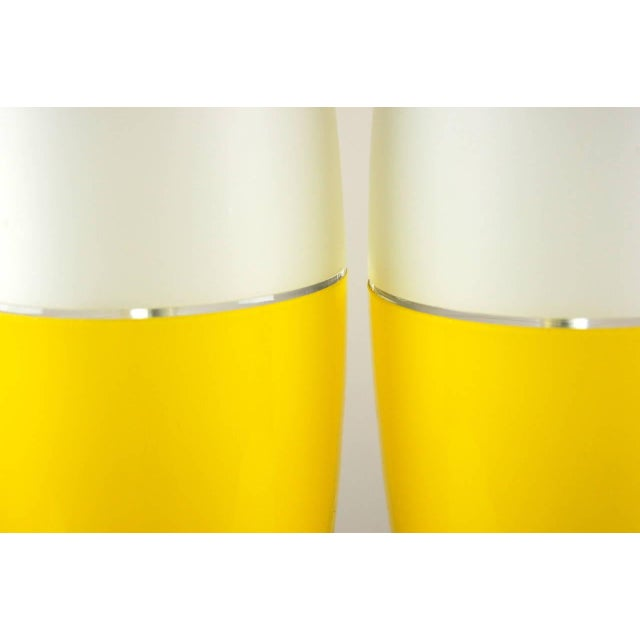 Murano Vintage Murano Glass Capsule Table Lamps in Yellow/White For Sale - Image 4 of 11