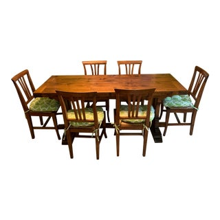 1990s Vintage Italian Solid Walnut Wood Butterfly Hinge Folding Dining Set For Sale