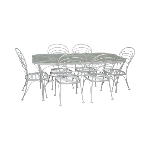 Woodard white painted oval glass top patio dining table 6 chair woodard white painted oval glass top patio dining table 6 chair set watchthetrailerfo