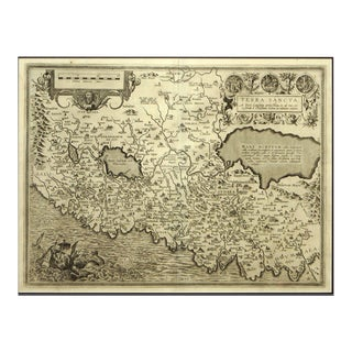 Engraving Depicting 16th Century Map of Terra Sancta For Sale