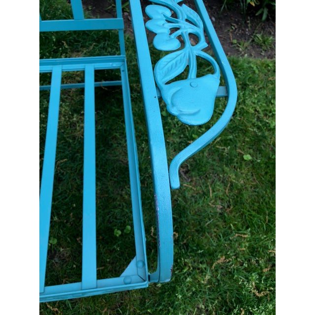 1950s Vintage Woodard Style Blue Wrought Iron Sofa With Harvest Motif For Sale - Image 5 of 9
