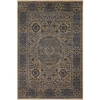 Southwestern Mamluk Celestin Ivory/Blue Wool Rug - 8'0 X 9'10 For Sale