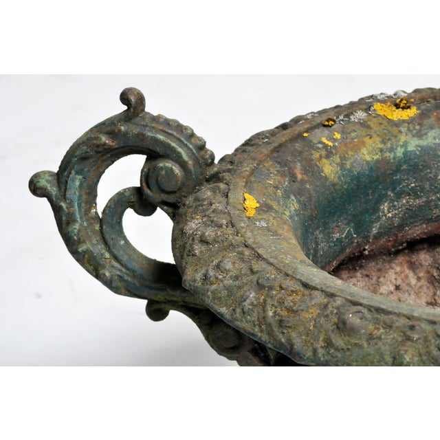 Metal Cast Iron Planter with Original Green Paint For Sale - Image 7 of 11