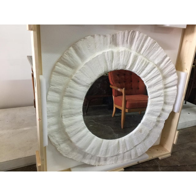French Plaster Wavy Round Wall Mirror For Sale - Image 4 of 6