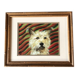 Contemporary Terrier Dog Print by Judy Henn Vintage Faux Bamboo Frame For Sale