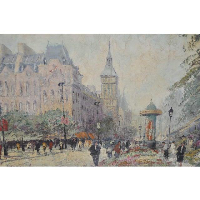 "Marcel Brisson Original ""Paris"" Oil Painting c.1960 For Sale - Image 4 of 8"