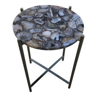 Boho Chic Tan Agate Side Table For Sale