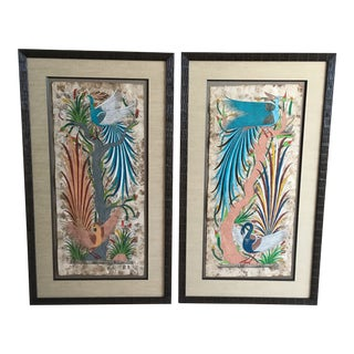 Framed Paintings Amate Paper Signed - APair For Sale