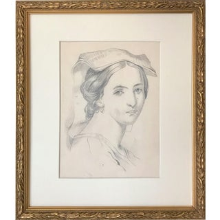 19th Century Antique Graphite Portrait Drawing of a Renaissance Woman For Sale