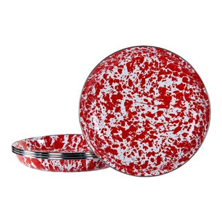 Pasta Plates Red Swirl - Set of 4 For Sale