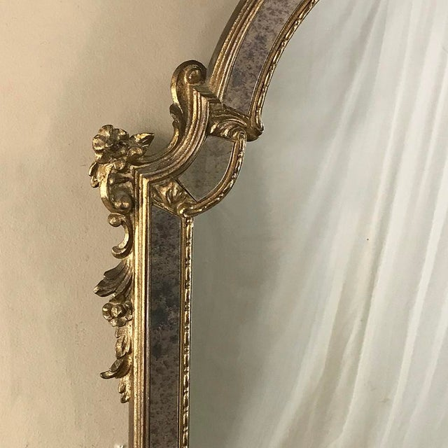 Wood Mid-Century Italian Venetian Gilded Mirror For Sale - Image 7 of 13