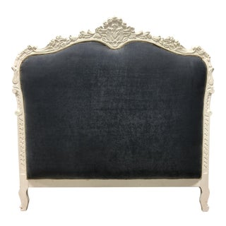 20th Century Louis XV Queen Size Velvet Gray Headboard For Sale