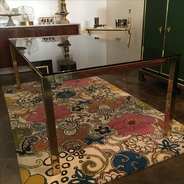 Mid Century Modern Vintage Brass & Glass Dining Table by Milo Baughman / DIA - Image 2 of 6