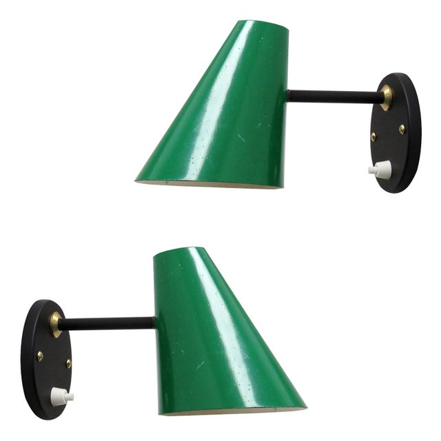 Green Jacques Biny Wall Lamps, 1950 - a Pair For Sale - Image 9 of 9