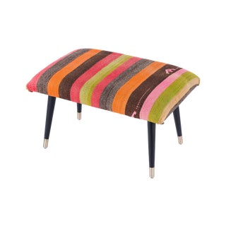 Pasargad Home Bosphorus Collection Stripe Kilim Cover Ottoman For Sale