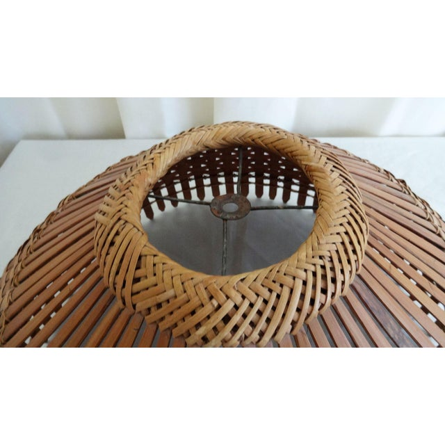 Wood 1960s Mid Century Modern Bamboo/Rattan Lampshade For Sale - Image 7 of 8