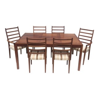 Mid-Century Modern Rosewood Dining Set With Six Chairs For Sale