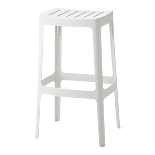 Cane-Line Stackable Cut Bar Stool, High, White For Sale