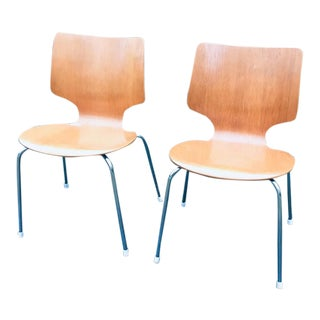 Vintage 1970s Teak Stacking Dining Chairs Danish - a Pair For Sale
