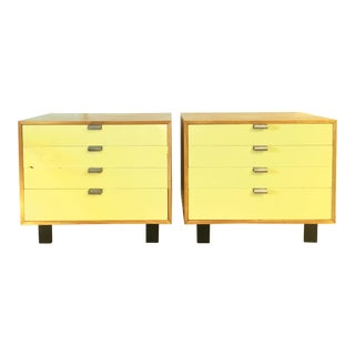Mid-Century Modern George Nelson for Herman Miller Model 4606 Basic Cabinet Series Yellow Front Chest of Drawers - a Pair For Sale